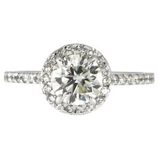 Round Halo Diamond Engagement Ring, 1.64 ctw in 18 kt White Gold