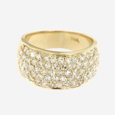 Vintage Old Single Cut Diamonds Wide Band in 14k Yellow Gold