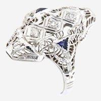 18k Filigree Diamond Sapphire ring