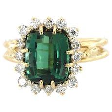 18kt Gold Chrome Tourmaline & Diamonds Ring.