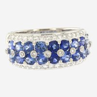 Fine Sapphire and Diamond 18 kt Gold Band
