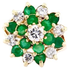 Vintage Emerald and Diamonds Cluster Ring, Circa 1960-70