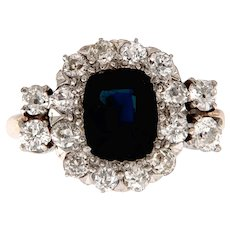 Antique Sapphire and Diamond Engagement Ring, Circa 1900-1910