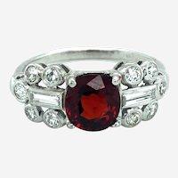 Vintage Platinum Diamond & Red Spinel Ring, Circa Mid Last Century.