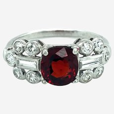 Vintage Platinum Diamond & Red Spinel Ring, Circa Mid Last Century.