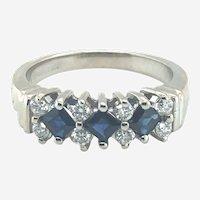 Sapphire and Diamond 14k Gold Band