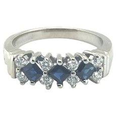 Sapphire and Diamond 14k Gold Band