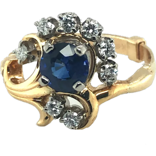 Vintage Sapphire & Diamond Cocktail Ring in 14k Gold