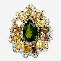 6.60 ct Green Tourmaline & Multi-Color Estate Diamond Ring in 18kt White Gold
