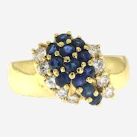 Italian Sapphire and Diamonds Cocktail Ring in 18 kt Gold