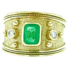 18kt Gold Emerald & Diamonds Wide Byzantine Style Ring, Signed SETO