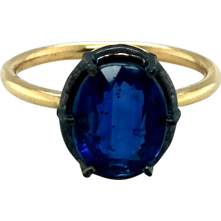 Antique Style Gemstone Solitaire Ring in 14k Gold & Silver Patina Top