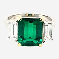 3.13ct Colombian Emerald & Diamond Ring Platinum/18kt