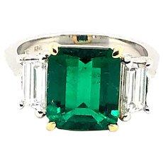 3.13ct Colombian Emerald & Diamond Ring Platinum/18kt