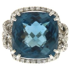 Estate London blue Topaz and Diamond Ring in 14kt Gold