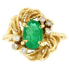 Emerald & Diamond 14kt Yellow Gold Cocktail Ring, Circa 1970