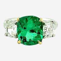 4.63 ct Emerald & Diamond Platinum Ring