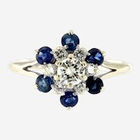 Estate Diamond & Sapphire Cluster Ring, 14kt White Gold