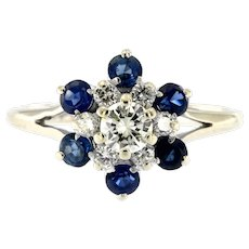 Estate Diamond & Sapphire Cluster Ring, 14kt White Gold