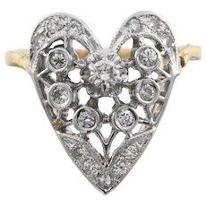 Vintage Diamond 14k Gold Classic Heart Ring, Circa Mid Last Century