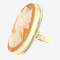 Vintage 14kt Gold Large Cameo Ring, Mid last Century