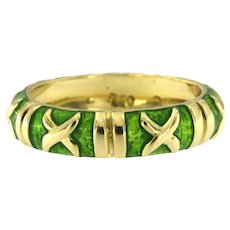18kt Yellow Gold Enameled Band