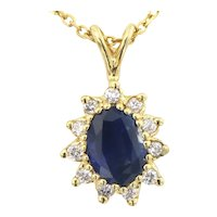 Estate Blue Sapphire 1.50 ct and Diamond 14kt Gold Pendant