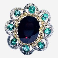 Vintage 4.50 ct Ruby 0.80 ct Emeralds and 1 ct Diamonds Cocktail Ring