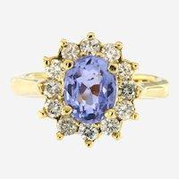 2.08 ct Sapphire & 0.90 Ct Diamonds 14kt Yellow Gold Ring, Circa 1970-80