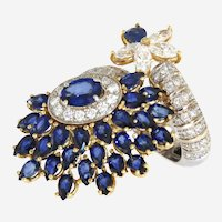 Fancy Italian 11.85 ct tw Diamonds and Sapphires Designer 18k Ring