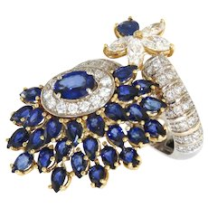 Fancy Italian 11.85 ct tw Diamonds and Sapphires Designer 18k Ring