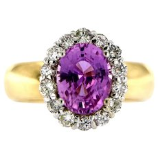 3.01 ct Natural Pink Sapphire Diamond Halo Engagement Ring 18kt