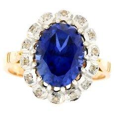Russian, Soviet Era 14kt Gold Diamond Sapphire Ring