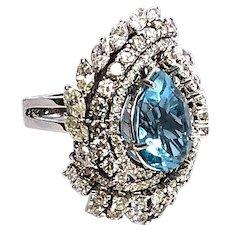Stunning 18kt Gold Aquamarine and Diamonds Large Italian Cocktail Ring,