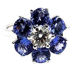 18kt Gold Tanzanite Diamond Flower Cocktail Ring