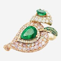 7.06 Carat Pink Diamonds & Emerald Ring 18kt Gold