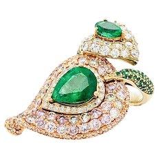 7.06 Carat Pink Diamonds & Emerald Ring 18kt Gold