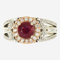 Natural 2.50 ctw Ruby & Diamonds Engagement Ring in 14K Gold|
