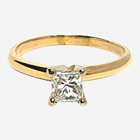 14kt Gold Princess Cut Diamond Solitaire Engagement Ring