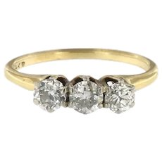 Antique 3 Old European Cut Diamonds Ring, circa Edwardian Era