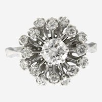 1.25 ct Diamonds Sun Burst Cluster Ring in 14 kt White Gold.