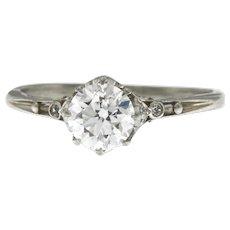 Art Deco Platinum 1.48 ct Diamond Engagement Ring, Old European Cut