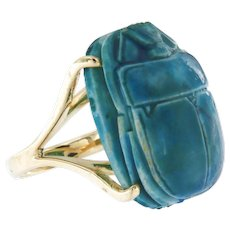 Egyptian Revival Large Faience Scarab in 14 kt Yellow Gold Ring