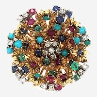 J Rossi 18kt Multi Gem & Diamond Ring