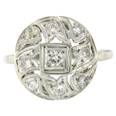 Vintage 14 kt White Gold & Diamonds Ring, Mid 20th Century