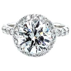3.02 Carat F Si2 Diamond Engagement Ring 18K