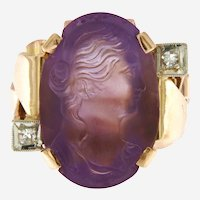 Antique Carved Amethyst Cameo and Diamond Ring, 14 kt Gold