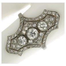 Antique Platinum 1.89 ctw Diamonds Handmade Ring.