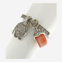 Diamonds and Coral Dangling Tulip Ring, 14kt Gold