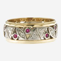 Vintage 2 Tone Diamond Ruby Band, 14 kt Gold